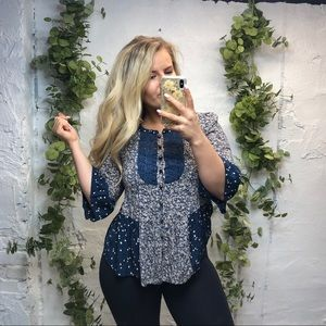 Anthropologie Maeve Lace Floral Top 0